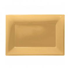 Πιατέλα πλαστική 23x32 εκ χρυσή 3τμχ
