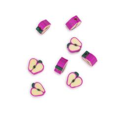 Φρουτάκια πλαστικά μήλο φούξια 10mm 10τεμ