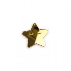 Αστεράκι πλεξιγκλάς χρυσό  5x5εκ 5τεμ