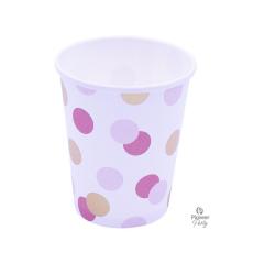Ποτήρια Χάρτινα 250ml Ροζ & Χρυσό Dots