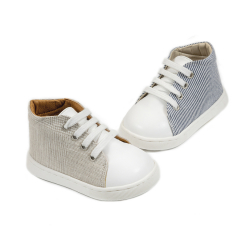 Δετά sneakers δίχρωμα απο ύφασμα & δέρμα Babywalker