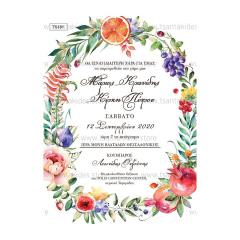 Προσκλητήριο γάμου tropical θέμα σε έντονους χρωματισμούς