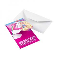 Προσκλήσεις Barbie και μονόκερος 8τεμ