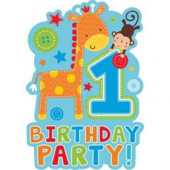 Προσκλήσεις για πρώτα γενέθλια με ζωάκια 8τεμ