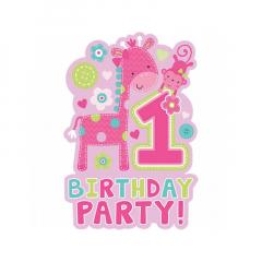 Προσκλήσεις για πρώτα γενέθλια ζωάκια ροζ 8τεμ