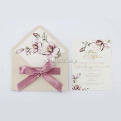 Προσκλητήριο γάμου vintage παστέλ λουλούδια Tsantakides