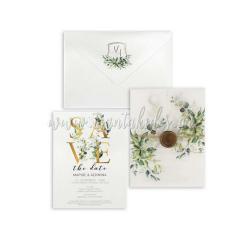 Προσκλητήριο γάμου με greenery στοιχεία Tsantakides