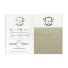 προσκλητήριο γάμου με μονογράμματα Tsantakides