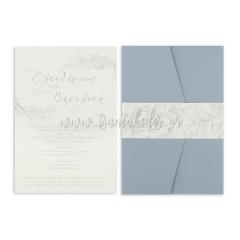 Προσκλητήριο γάμου dusty blue Tsantakides