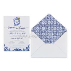 Προσκλητήριο γάμου μπλε πορσελάνη Tsantakides