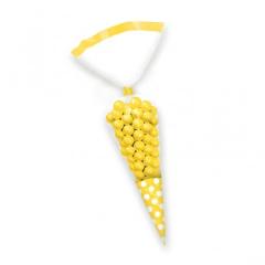 Σακουλάκια κώνοι πουά κίτρινα 10τμχ