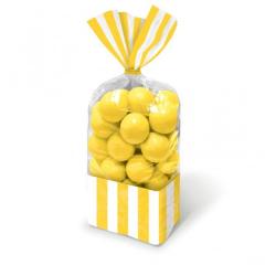 Σακούλες ριγέ κίτρινο 10τμχ