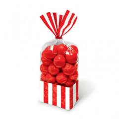 Σακούλες ριγέ κόκκινο 10τμχ