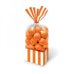 Σακούλες ριγέ πορτοκαλί 10τμχ