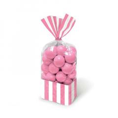 Σακούλες ριγέ ροζ 10τμχ