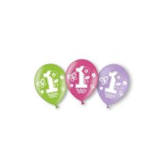 Σετ latex μπαλόνια 1st Birthday Girl (6τεμ)