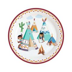 Χάρτινα πιάτα φαγητού μικρός ινδιάνος 23εκ 8τεμ