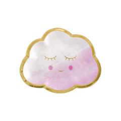 Χάρτινο πιάτο γλυκού συννεφάκι ροζ 8τεμ