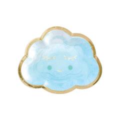 Χάρτινο πιάτο γλυκού συννεφάκι σιέλ 8τεμ