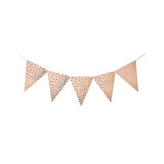 Χάρτινα σημαιάκια ροζ με χρυσό πουά μοτίβο