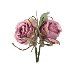 Τριαντάφυλλο ροζ με σχοινί και φύλα 2τεμ