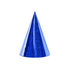 Χάρτινο καπελάκι μπλε μεταλλιζέ 6τεμ