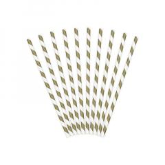 Χάρτινα καλαμάκια λευκά χρυσαφί 19εκ 10τεμ