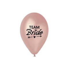 Τυπωμένο 'Team Bride' Rosegold Latex Μπαλόνι (5τεμ)