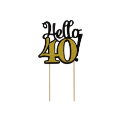 """Topper τούρτας """"Hello 40"""""""