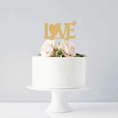 Topper τούρτας Love χρυσό