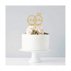 Διακοσμητικό topper τούρτας δαχτυλίδι Mr&Mrs