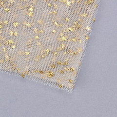 Τούλι γαλλικό με χρυσά αστεράκια 14x14cm 100τεμ