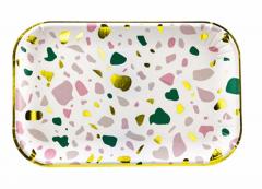 Πιάτα μικρά πολύχρωμα με χρυσό περίγραμμα 6τεμ.