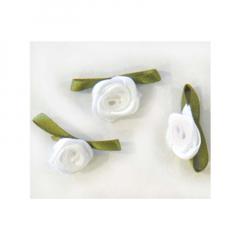 Λουλουδάκι σατέν λευκό 100τμχ