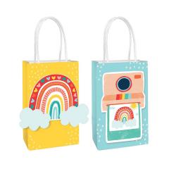 Τσάντες Δώρου χαρτινες Retro Rainbow DIY (8τεμ)