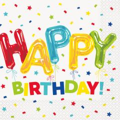 Χαρτοπετσέτες φαγητού 33εκ. Happy Balloon Birthday 16τεμ.