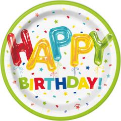 Πιάτα γλυκού Happy Balloon Birthday 8τεμ.