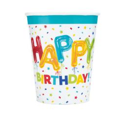 Ποτήρια χάρτινα 270ml Happy Balloon Birthday 8τεμ.