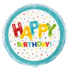 Μπαλόνι Φοιλ Happy Balloon Birthday 46εκ.