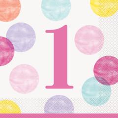 Χαρτοπετσέτες φαγητού 33εκ. Pink Dots 1st 16τεμ.