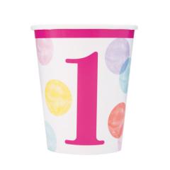 Ποτήρια χάρτινα 270ml Pink Dots 1st 8τεμ.