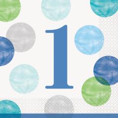 Χαρτοπετσέτες φαγητού 33εκ. Blue Dots 1st 16τεμ.