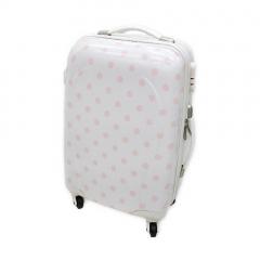 Βαλίτσα τρόλεϊ λευκή με ροζ πουά