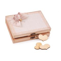 Κουτί ευχών ξύλινο με 90 καρδίες και δαντέλα εκρού με κρεμαστά καμένα λουλούδια