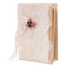 Βιβλίο ευχών με δαντέλα και καμένα λουλούδια