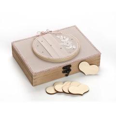 Κουτί ευχών με 90 καρδιές με μουσελίνα τελάρο