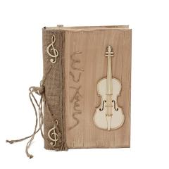 Βιβλίο ευχών με βιολί και επιγραφή ευχές κορδόνι