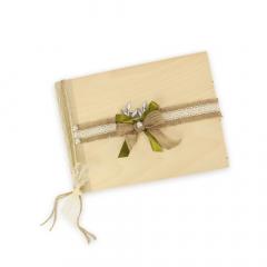 Βιβλίο ευχών ξύλινο ασημί κλαδί ελιάς