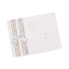 Βιβλίο ευχών γάμου καρδιές λευκές