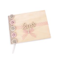 Βιβλίο ευχών γάμου ξύλινο υφασμάτινα λουλούδια